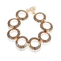 Min Order is $10 (mix order) Fashion Gold Tone Bracelet Black Round Element Tennis B60