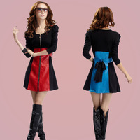 Square collar zipper pencil skirt epaulette bow lacing leather patchwork long-sleeve Dress FREE SHIPPING.