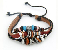 2013 new Male Female woven leather bracelet beaded bracelet retro personality Bracelet free shipping 19/ftyh_10060754
