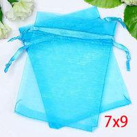 100 Aqua Blue Bronzing Drawable Organza Wedding Gift Bags&Pouches 7x9cm