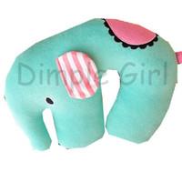 new special green sentimental circus plush cushion blue elephant neck pillow u shape for boyfriend girlfriend birthday gift cute