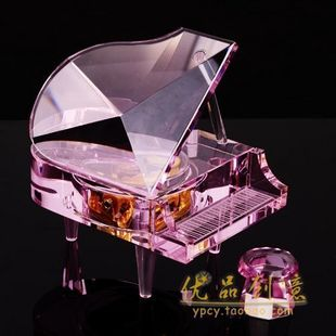 Free shipping Girlfriend gift gifts pink crystal piano music box full metal rhymes movement(China (Mainland))