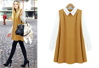 2013 new fashion women's dreeses ladies loose peter pan collar dress long sleeve chiffon dresses vintageFree shipping