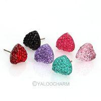 New 60pairs Wholesale Jewellery Lovely Earring Enamel Resin Heart Stone Stud Earrings 60102