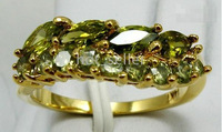 fashion jewelry women gold plated ring emerald rings wedding ring party jewelry free shipping size 8