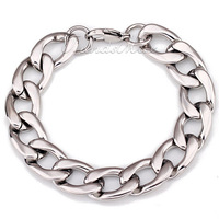 "15mm 7-11"" (18-28cm) Free Shipping Mens  Stainless Steel Huge Curb Chain Bracelet Silver Tone KB229"