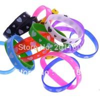 Drop Shipping 100Pcs/set Fashion Jewelry Colorful Muti-colored Silicone Rubber Wristband Sports Style Bracelet  Unisex Bangles