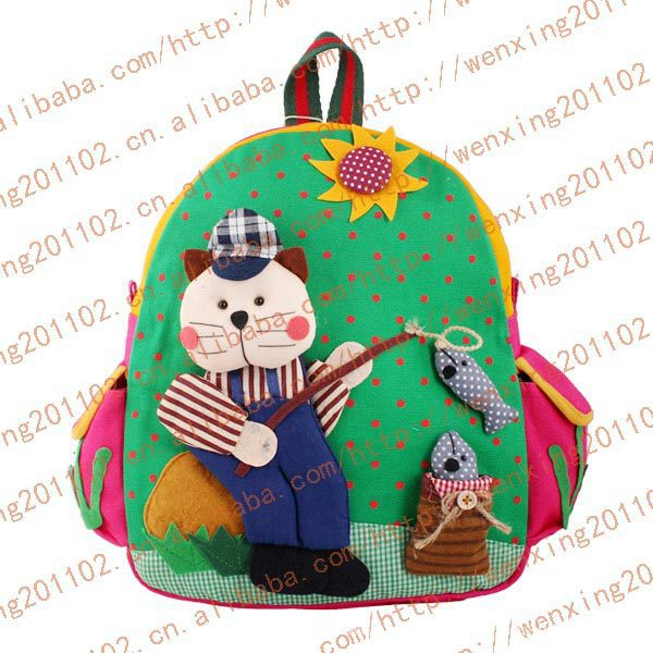 Hot baby kids children canvas cotton fabric backpack! kindergarten school bag! green fishing bear!good gifts for baby!(China (Mainland))