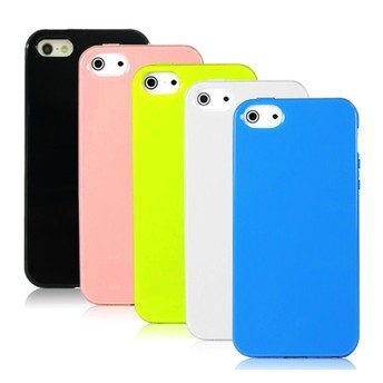 For iphone 5 Case, TPU Rubber Soft Multicolor, Gloss Surface 13 Colors Available 10pcs/Lot, Free Shipping