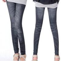 New Women Tights faux Jeans Pencil Pants Leggings Stonewash Denim Skinny Stretch  CY0290 dropshipping free shipping