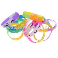 Drop Shipping 100Pcs/set Fashion Jewelry Colorful Muti-colored  Sexy Beard Silicone Rubber Wristband Bracelet  Unisex Bangles