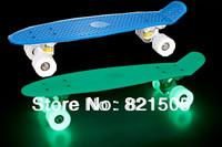 "22"" Complete Plastic Penny Skates  Mini Cruiser Skateboard Hover board longboard Glow in the dark Blue"