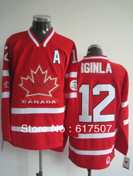 Free Shipping Olympic Team Canada #12 Jarome Iginla Men&#39;s Ice Hockey Jersey,Embroidery and Sewing logos,Size M--3XL(China (Mainland))