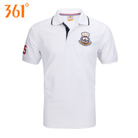 361 deg . summer male t-shirt turn-down collar short-sleeve 361 men sports top casual shirts breathable sweat absorbing t