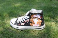 Medium cut hand-painted shoes painted shoes canvas shoes graffiti shoes Women zhongbang rabbit