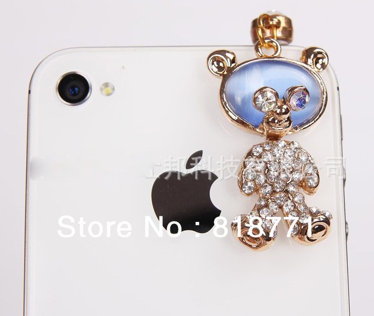 3.5 mm Universal Earphone Jack Plug Diamond cartoon panda Dust Plug for iPhone5 ipad Samsung HTC Tablet PC Freeshipping(China (Mainland))