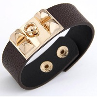 Min.Order 10$(can mix order) Wholesale Gold Plated Pyramid Bracelet with 2.4CM Wide Black Leather  ZQB0004