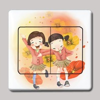 Little girl multicolour switch stickers doodle wall stickers for kg 147