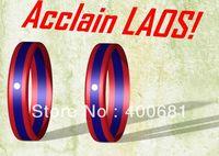 Sample Order Free Shipping LAOS Flag Stripe Silicone Wristband/Bracelet