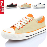 Spring and summer low canvas shoes women's single shoes fashion color block decoration casual shoes skateboarding shoes