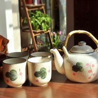 free shipping Wholesale Vintage japanese style tea set jingdezhen ceramic  tea set wedding gift Cup height  8cm Pot height 13cm