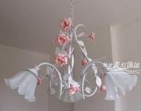 2012 hot sell Rustic lamp ceramic rose lamp princess bedroom lamp lifter dual  3 pendant light  free shipping