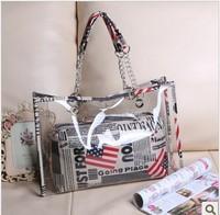 2013 Summer New Transparent Bag Beach Jelly Handbag American Flag/Striped/Polka Dot 10 Designs for selection
