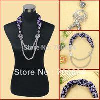 Hot Sale Choker Autumn Short Fabric Ceramic Short Scarf Chain scarf Necklace, Mixed Colors 6 pcs/lot Wholesale
