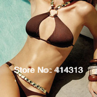 Sexy Fashion Brown bikini swimwear women Padded Boho bandage swimsuit 2013 metal ring with crystal tops and bottom decoration