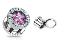 Pair (2) Large Pink CZ Star Gem Rim Ear Plugs Screw Fit Tunnels Hollow Steel Gauges mixed size free shipment 20pcs