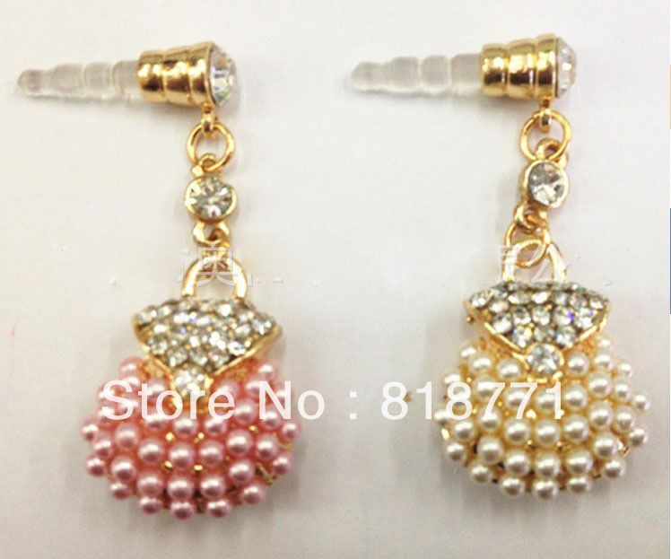 3.5 mm Universal Earphone Jack Plug Diamond pearl bag Dust Plug for iPhone5 ipad Samsung HTC Tablet PC Freeshipping(China (Mainland))
