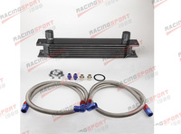 Black Universal Engine transmission Mocal style Oil Cooler kit 7 row 10AN + filter Relocation Kit