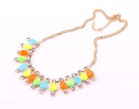 Free shipping 2013 New Fashion rose Gold plated bib teardrop crystal necklace with glitzy stones