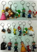 High Quality PVC Super Mario keychain Bros Luigi Action Figures 18pcs/set youshi mario Gift OPP retail