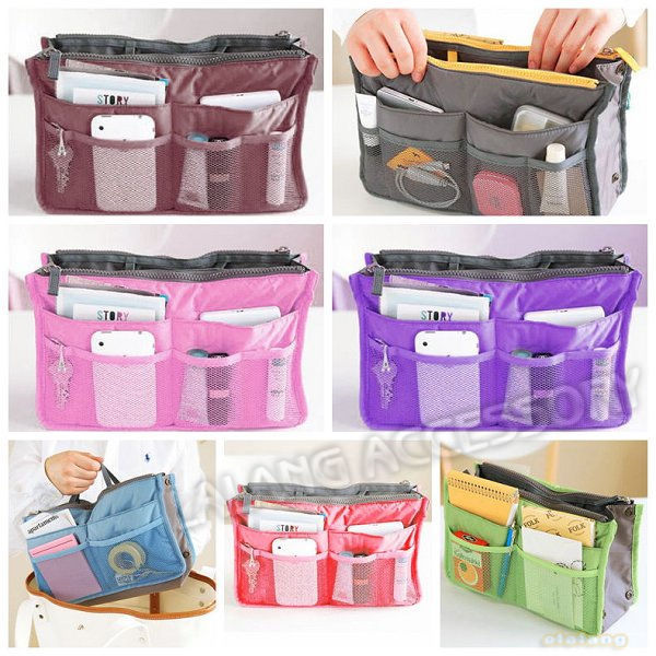 Free Shipping 2 pcs/lot 7 Colors available Dual Travel Bag Handbag Nylon Cosmetic storage Bag 640198(China (Mainland))