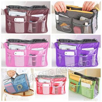 Free Shipping 2 pcs/lot  7 Colors available Multifunction Dual Travel Bag Handbag Nylon Cosmetic Make Up Bag cx640198
