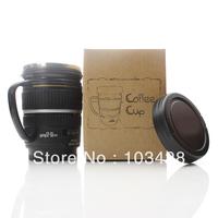 FreeShipping-Cute Camera EFS 17-55mm Lens Coffee Cup Small Black Lens Mug Coffe Mugs witg Cover
