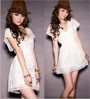Brand New Fashion Summer Dress 2013 For Women Fashion Lace Short Mini Sexy V Neck Nightwear Skirt For Ladies Free Size White