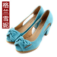 Open toe shoe 2013 female sandals spring  summer bow thick heel women's shoes rubber sole Free shipping