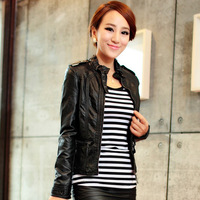 women  spring outerwear  stand collar  jacket PU LEATHER  vest  jacket coat  outwear