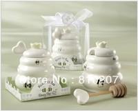 Free Shipping 100 pcs  Ceramic Meant to Bee Honey Jar Honey Pot Wedding favors / Baby shower favors