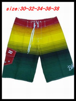 Free shipping men beach shorts 2014 fashion swimwear swim trunks yellow green striped color men shorts surf boards shorts