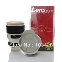 FreeShipping-Homade White Color Snap Shot Camera Lens Mug Camera Lens Cup Mug Coffee Mug with Light shield cover