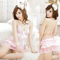 Sexy Lingerie Kimono Dress Dress+G string+Band Set  One Size Sleepwear,Underwear ,Uniform ,Kimono Costume 1382-1pcs-pink