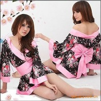 Hot sale Free shipping wholesale black Japanese Cherry Blossom Kimono sexy game costumes