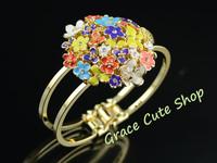 Free Shippig Flower Bracelet Famous Logo Printed Gold Color Original Package (Dust Bag and Gift Box ) #CB03