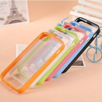 Chic Candy Color Dual Color TPU+PC Hard Back Clear Case For iPhone 5 5G, With Opp Bag Packing 10pcs/Lot Free shipping