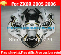 Fairing for Ninja ABS ZX-6R 05 06 2005 2006 LUCKY STRIKE glossy white/black racing motorcycle fairing  with free windshield