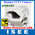 3pcs/lot Solar Power Dummy Fake Security CCTV CCD Flashing LED Camera professional Surveillance free shipping china post