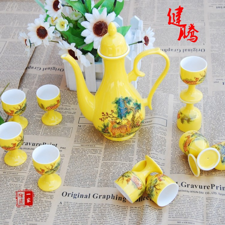 - jingdezhen ceramic antique bar set liquor color glaze gift box packaging(China (Mainland))
